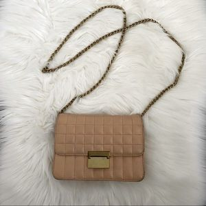 J. Crew tan nude leather quilted small crossbody clutch purse with gold chain